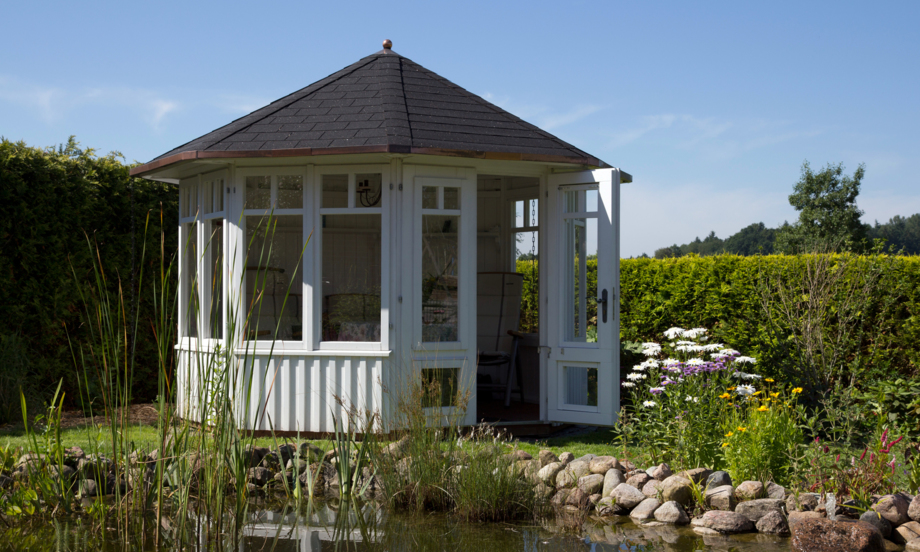 gartenpavillon holz mit stoffdach. Black Bedroom Furniture Sets. Home Design Ideas